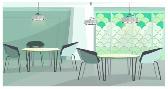 Cozy cafe with modern design vector illustration